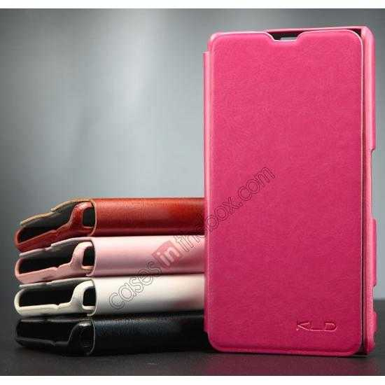discount KLD Enland Series PU Leather Flip Case Cover for Sony Xperia Z1 Mini M51W - Rose