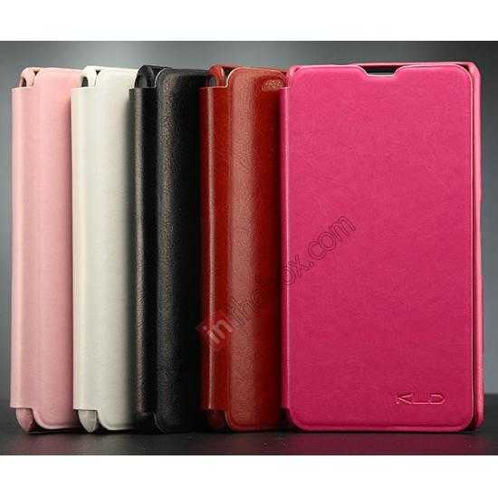low price KLD Enland Series PU Leather Flip Case Cover for Sony Xperia Z1 Mini M51W - Rose