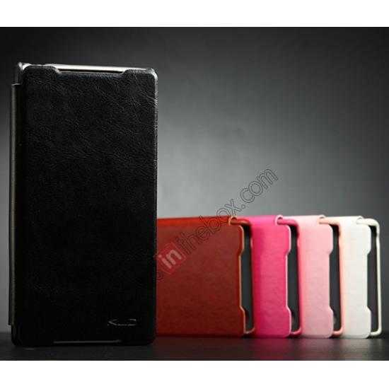 discount KLD Enland Slim Leather Side Flip Case for Sony Xperia Z2 - Black