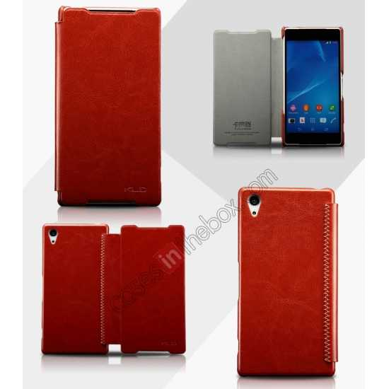 wholesale KLD Enland Slim Leather Side Flip Case for Sony Xperia Z2 - Brown