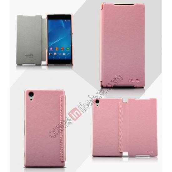 wholesale KLD Enland Slim Leather Side Flip Case for Sony Xperia Z2 - Pink
