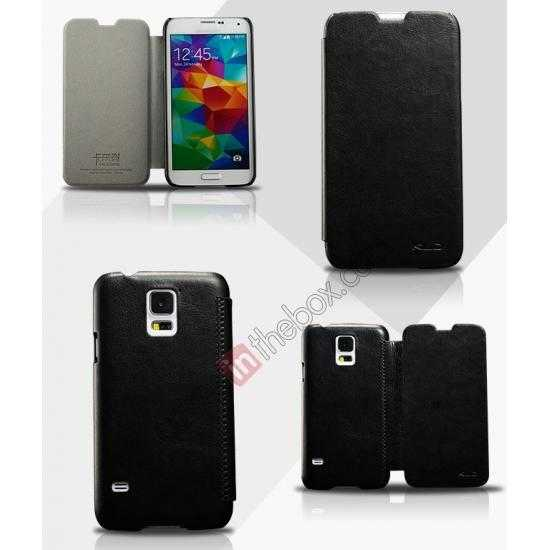 wholesale KLD Enland Slim PU Leather Flip Case Cover Pouch for Samsung Galaxy S5 G900 - Black