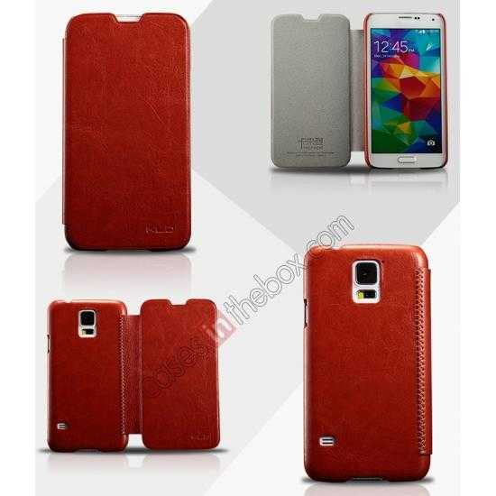 wholesale KLD Enland Slim PU Leather Flip Case Cover Pouch for Samsung Galaxy S5 G900 - Brown