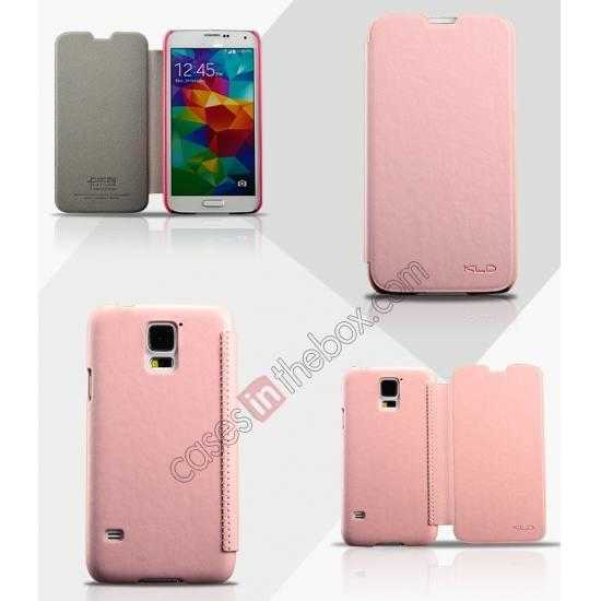 wholesale KLD Enland Slim PU Leather Flip Case Cover Pouch for Samsung Galaxy S5 G900 - Pink