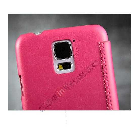 best price KLD Enland Slim PU Leather Flip Case Cover Pouch for Samsung Galaxy S5 G900 - Pink