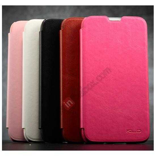 low price KLD Enland Slim PU Leather Flip Case Cover Pouch for Samsung Galaxy S5 G900 - Pink