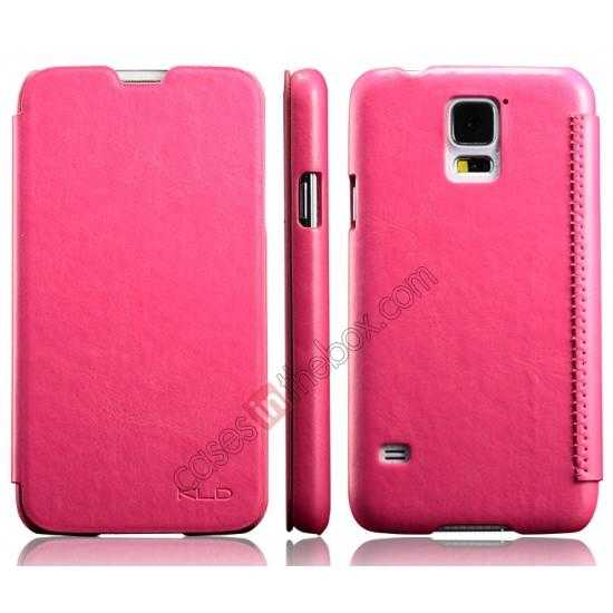 discount KLD Enland Slim PU Leather Flip Case Cover Pouch for Samsung Galaxy S5 G900 - Red