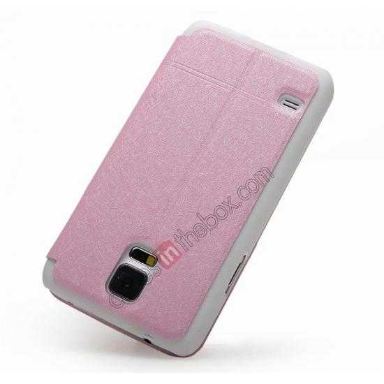 cheap KLD Iceland Series Ultra-slim Side Flip Leather Case for Samsung Galaxy S5 - Pink