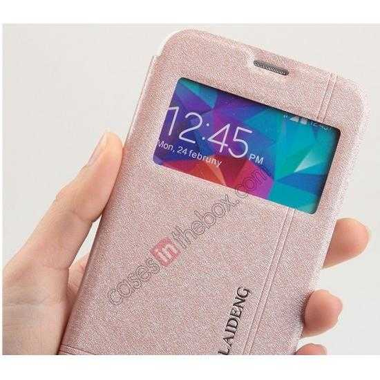 top quality KLD Iceland Series Ultra-slim Side Flip Leather Case for Samsung Galaxy S5 - Pink