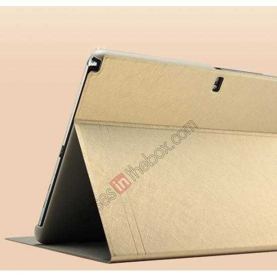 best price KLD KA Series Ultra-thin Leather Stand Case for Samsung Galaxy Tab Pro 12.2 P900 - Gold