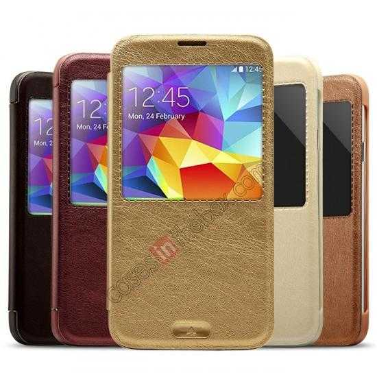 wholesale KLD KA Series View Window Leather Flip Case for Samsung Galaxy S5 with Sleep Function