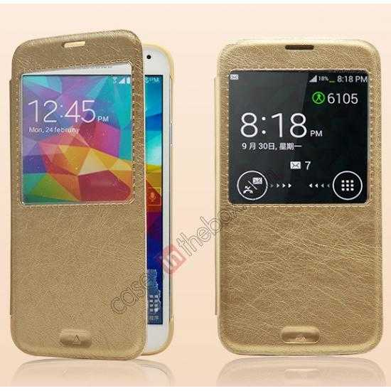 discount KLD KA Series View Window Leather Flip Case for Samsung Galaxy S5 with Sleep Function