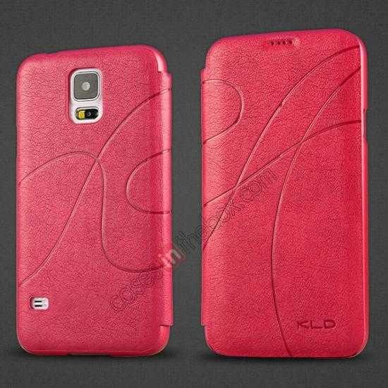 wholesale KLD Oscar II Series Leather Card Holder Stand Case for Samsung Galaxy S5 - Rose