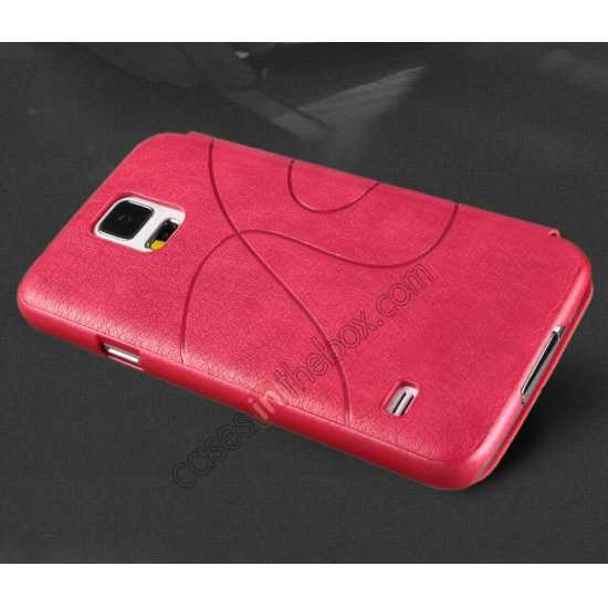 top quality KLD Oscar II Series Leather Card Holder Stand Case for Samsung Galaxy S5 - Rose