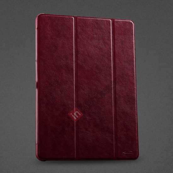 wholesale KLD Oscar Series Tri-fold Smart Wake / Sleep Leather Case for Samsung Galaxy Tab Pro 10.1 T520 - Wine Red