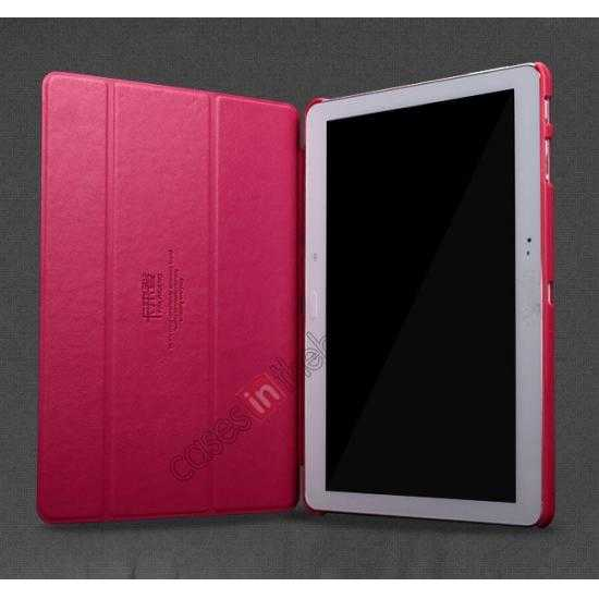 discount KLD Oscar Series Tri-fold Smart Wake / Sleep Leather Case for Samsung Galaxy Tab Pro 10.1 T520 - Wine Red