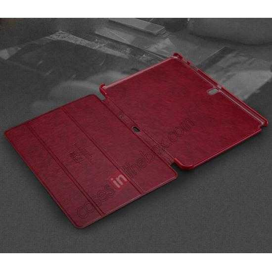 best price KLD Oscar Series Tri-fold Smart Wake / Sleep Leather Case for Samsung Galaxy Tab Pro 10.1 T520 - Wine Red