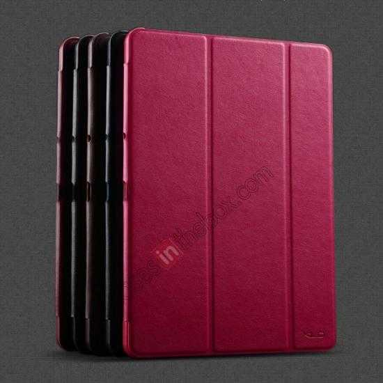 low price KLD Oscar Series Tri-fold Smart Wake / Sleep Leather Case for Samsung Galaxy Tab Pro 10.1 T520 - Wine Red