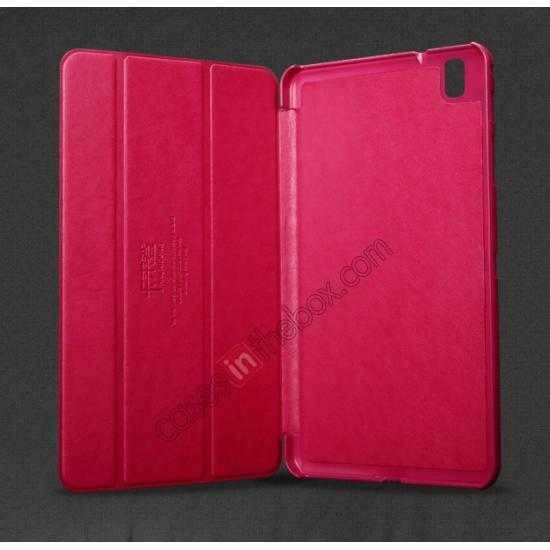 discount KLD Oscar Series Tri-fold Smart Wake / Sleep Leather Case for Samsung Galaxy Tab Pro 8.4 T320 - Hot Pink