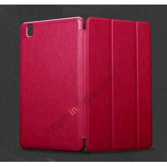cheap KLD Oscar Series Tri-fold Smart Wake / Sleep Leather Case for Samsung Galaxy Tab Pro 8.4 T320 - Hot Pink