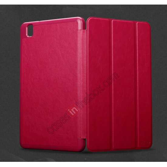 cheap KLD Oscar Series Tri-fold Smart Wake / Sleep Leather Case for Samsung Galaxy Tab Pro 8.4 T320 - Wine Red