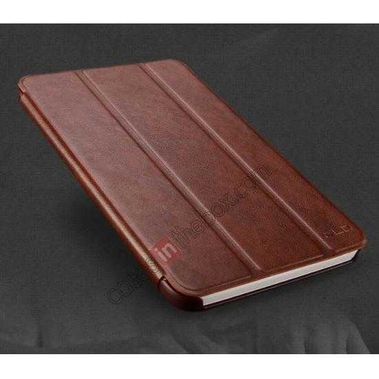 discount KLD Oscar Series Tri Folded Leather Stand Case for Samsung Galaxy Tab 3 Lite 7 T110 - Coffee