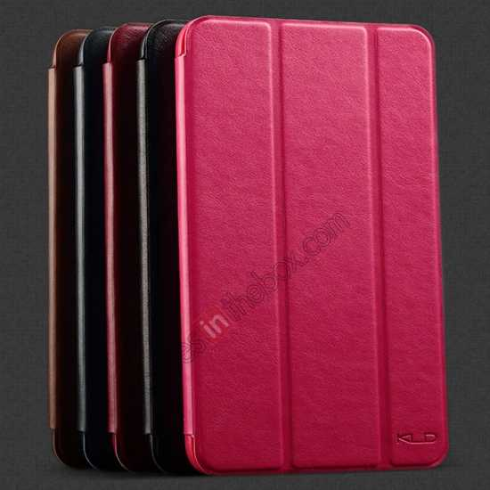 high quanlity KLD Oscar Series Tri Folded Leather Stand Case for Samsung Galaxy Tab 3 Lite 7 T110 - Coffee