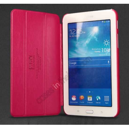 top quality KLD Oscar Series Tri Folded Leather Stand Case for Samsung Galaxy Tab 3 Lite 7 T110 - Red