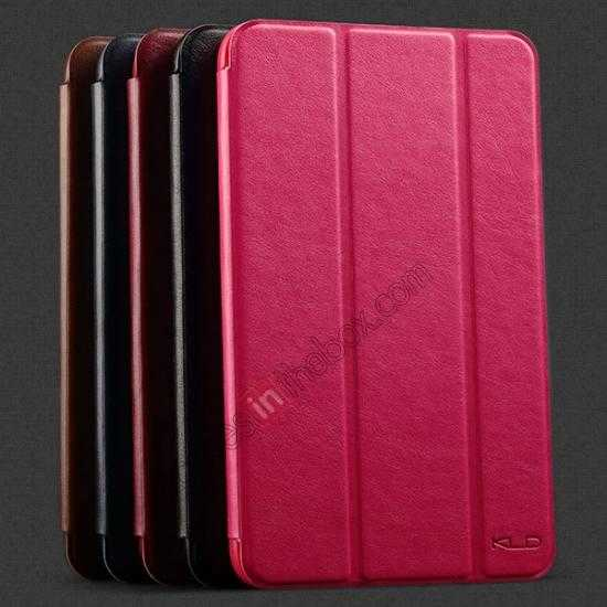 low price KLD Oscar Series Tri Folded Leather Stand Case for Samsung Galaxy Tab 3 Lite 7 T110 - Red