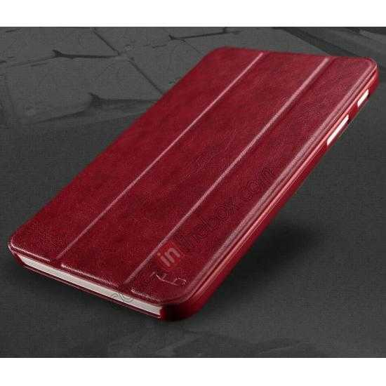 discount KLD Oscar Series Tri Folded Leather Stand Case for Samsung Galaxy Tab 3 Lite 7 T110 - Wine Red
