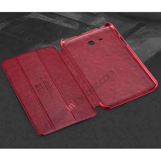 cheap KLD Oscar Series Tri Folded Leather Stand Case for Samsung Galaxy Tab 3 Lite 7 T110 - Wine Red