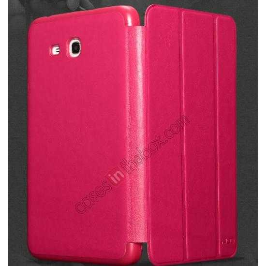 high quanlity KLD Oscar Series Tri Folded Leather Stand Case for Samsung Galaxy Tab 3 Lite 7 T110 - Wine Red