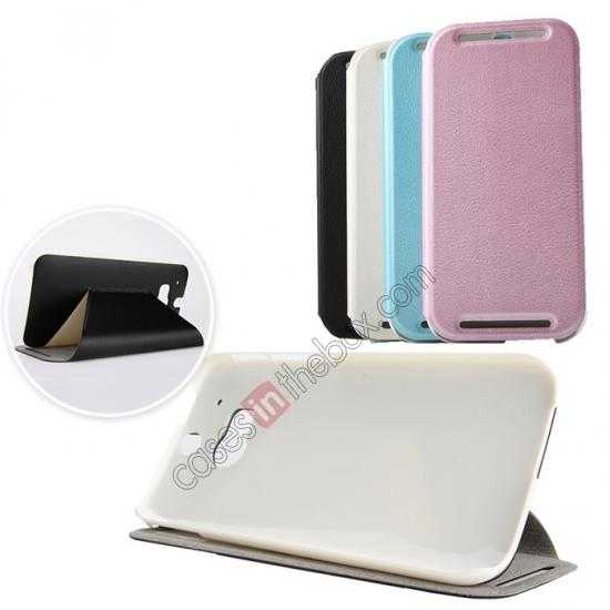 wholesale KLD Swift Series Flip Thin Stand PU Leather Case for HTC One 2 M8