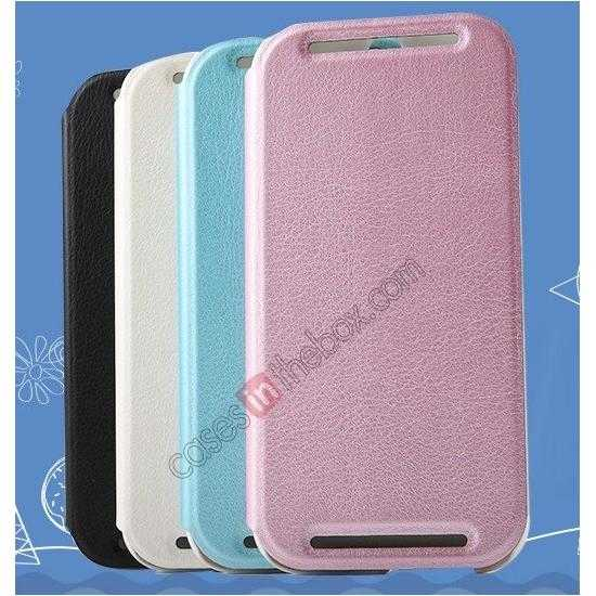 discount KLD Swift Series Flip Thin Stand PU Leather Case for HTC One 2 M8