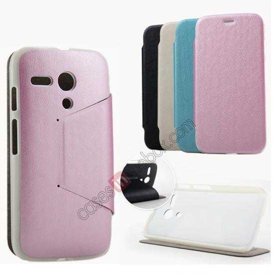 wholesale KLD Swift Series Flip Thin Stand PU Leather Case for Moto G