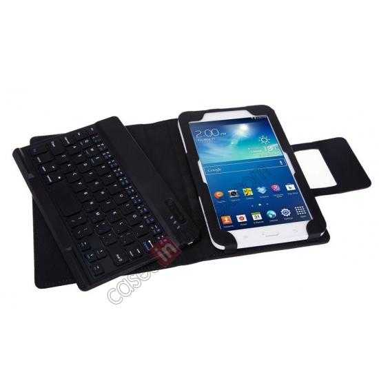 top quality Leather Stand Case Cover + Wireless Bluetooth 3.0 Keyboard For Samsung Galaxy Tab3 Lite7/T110