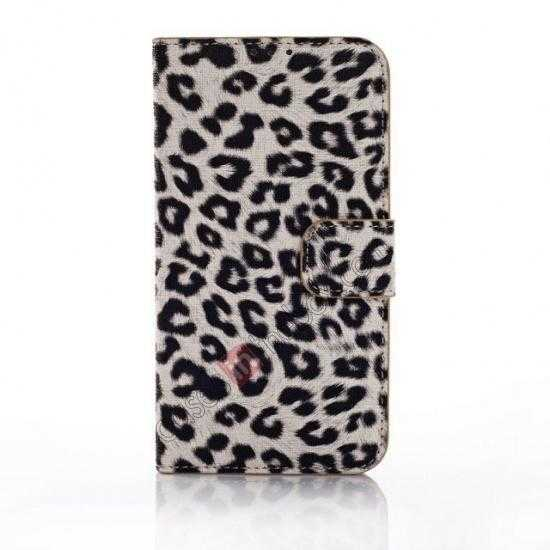 discount Leopard Print Leather Folio Stand Wallet Case for Samsung Galaxy S5 G900 - Grey