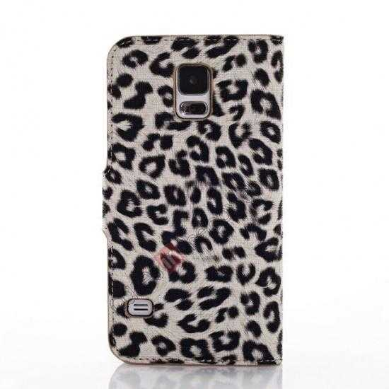 cheap Leopard Print Leather Folio Stand Wallet Case for Samsung Galaxy S5 G900 - Grey