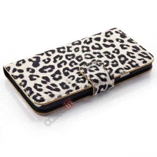 top quality Leopard Print Leather Folio Stand Wallet Case for Samsung Galaxy S5 G900 - Grey