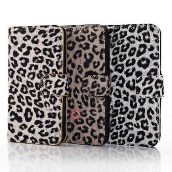 low price Leopard Print Leather Folio Stand Wallet Case for Samsung Galaxy S5 G900 - Grey