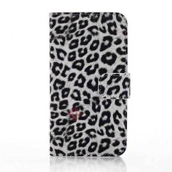 discount Leopard Print Leather Folio Stand Wallet Case for Samsung Galaxy S5 G900 - White