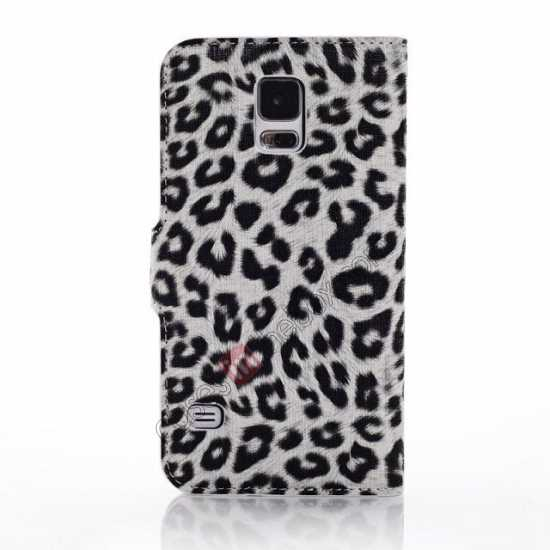 cheap Leopard Print Leather Folio Stand Wallet Case for Samsung Galaxy S5 G900 - White