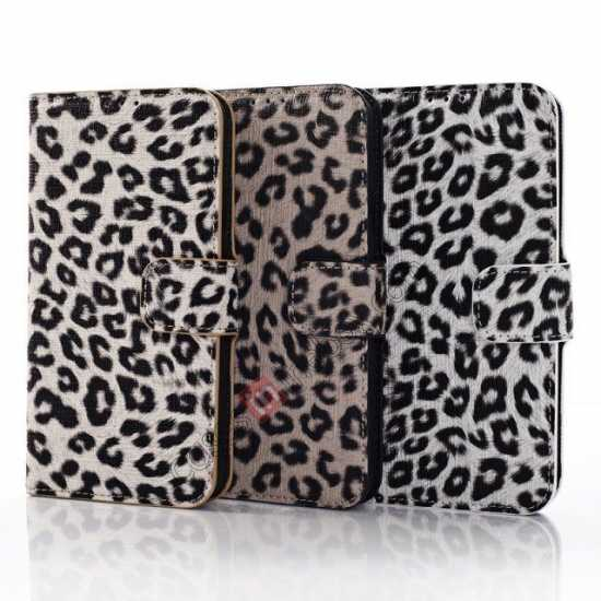 low price Leopard Print Leather Folio Stand Wallet Case for Samsung Galaxy S5 G900 - White