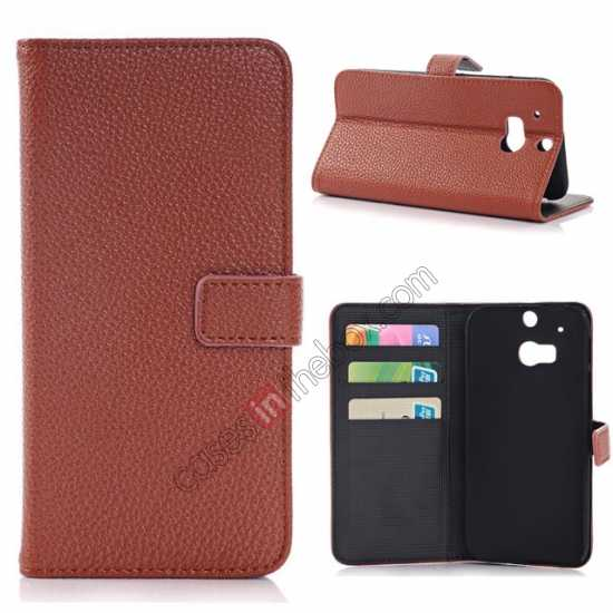 wholesale Lichee Pattern Leather Stand Case for HTC One 2 M8 With Card Slots - Brown