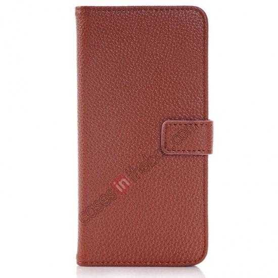 discount Lichee Pattern Leather Stand Case for HTC One 2 M8 With Card Slots - Brown