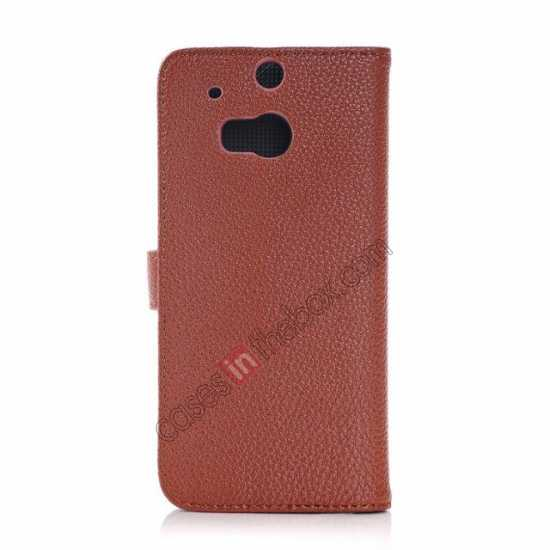 cheap Lichee Pattern Leather Stand Case for HTC One 2 M8 With Card Slots - Brown