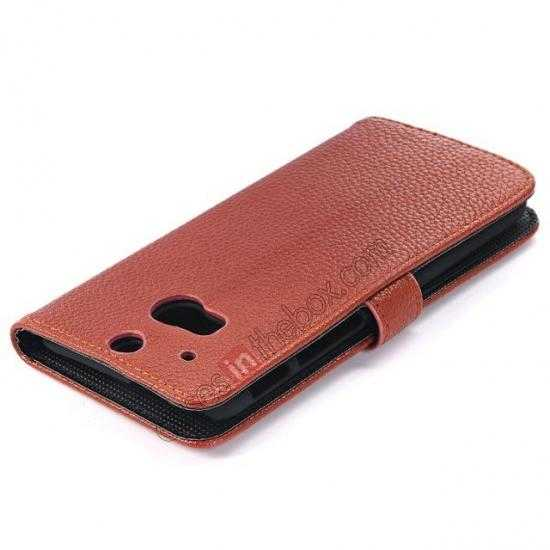 top quality Lichee Pattern Leather Stand Case for HTC One 2 M8 With Card Slots - Brown