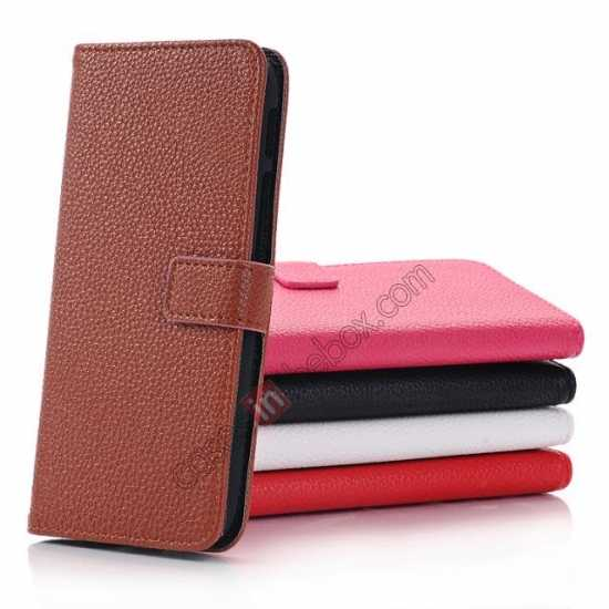 low price Lichee Pattern Leather Stand Case for HTC One 2 M8 With Card Slots - Brown