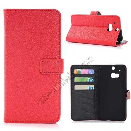 wholesale Lichee Pattern Leather Stand Case for HTC One 2 M8 With Card Slots - Red