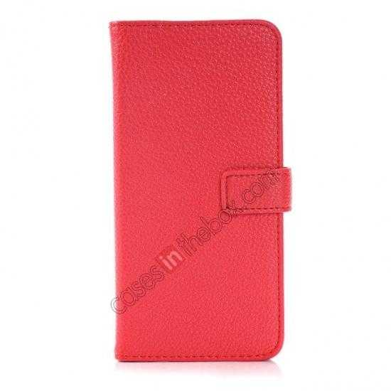 discount Lichee Pattern Leather Stand Case for HTC One 2 M8 With Card Slots - Red
